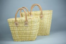 Conical Basket with short leather Handles