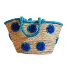 Palm Basket with , with crocheted wool